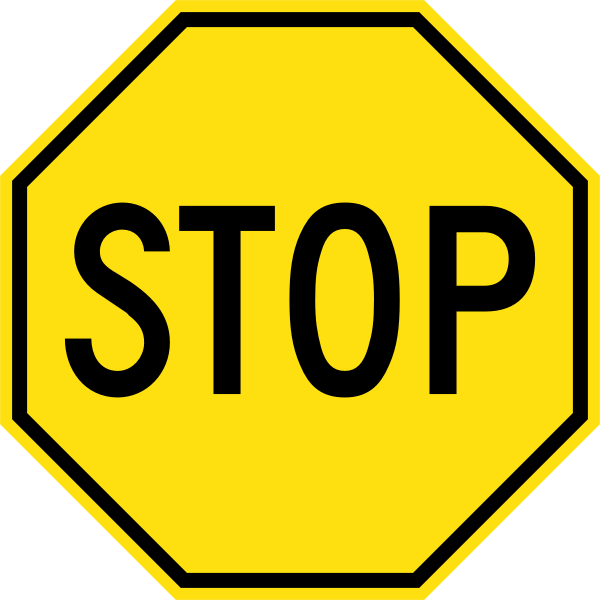 Yellow Stop Sign (Before 1950, U.S.A.)