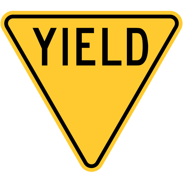 Yellow Yield Sign (Obsolete, U.S.A.)
