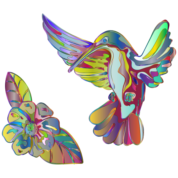 Prismatic hummingbird and flower