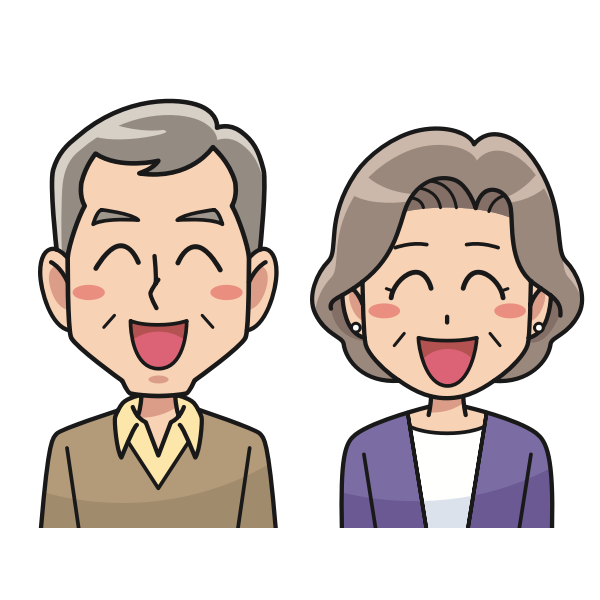 Laughing couple cartoon style