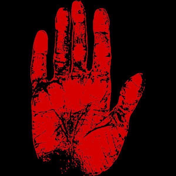 Red Palm Print
