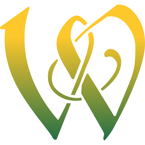 W letter in green and yellow