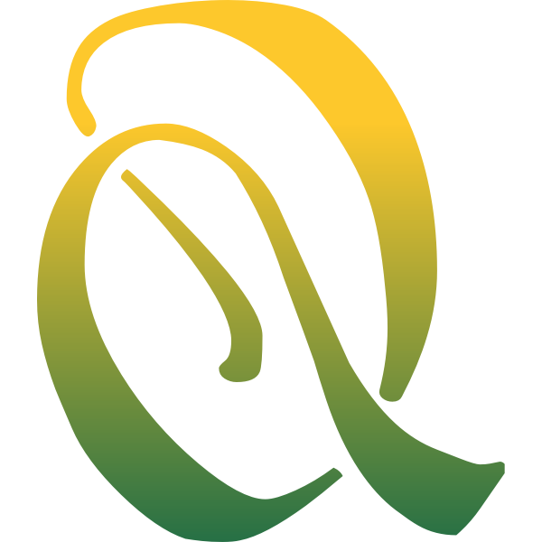 Q letter in yellow and green