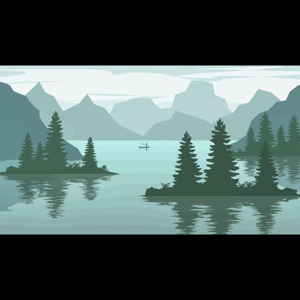 Digital landscape vector illustration