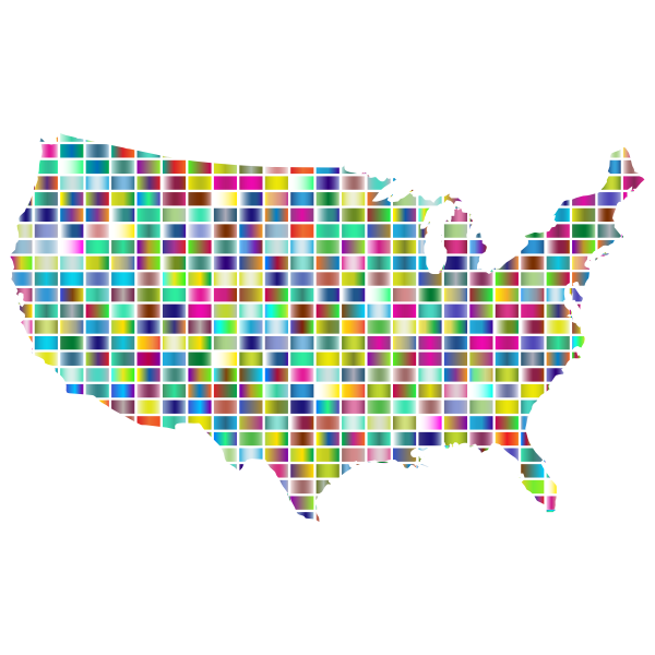 United States Map Grid Design Prismatic 2