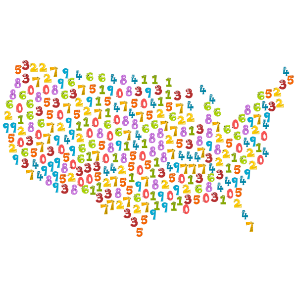 US map with numbers