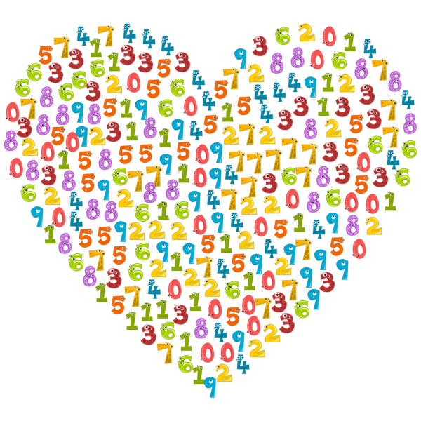 Colorful animal numbers in a heart