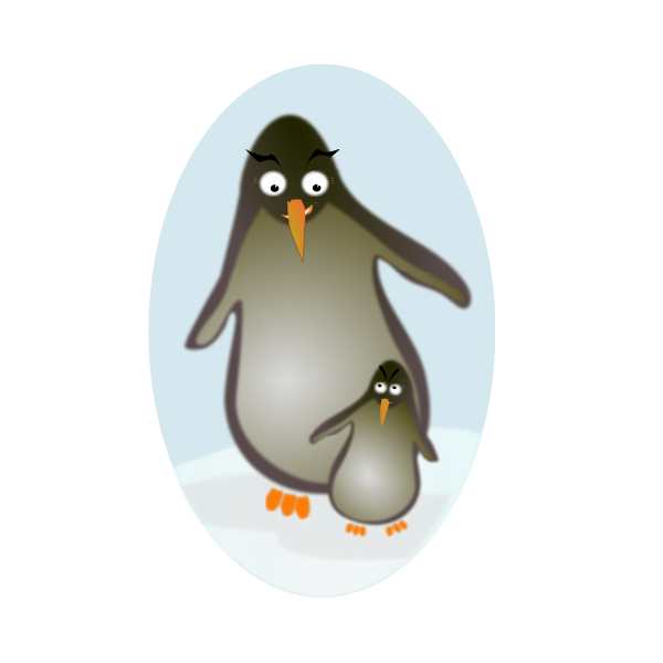 penguin father and son