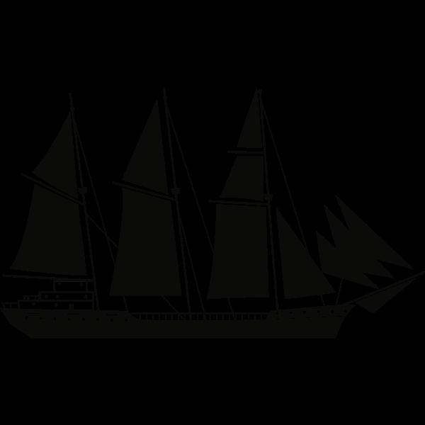 Sail Ship Silhouette Stencil Art