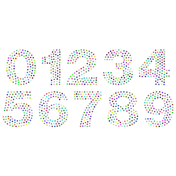 Numbers Circles Font Prismatic