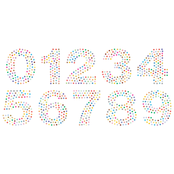 Numbers Circles Font Prismatic 2