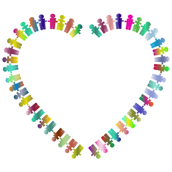 People Puzzle Heart Polyprismatic