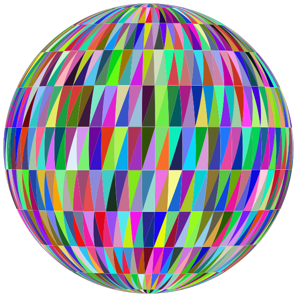 Spherical shape with colorful tiles