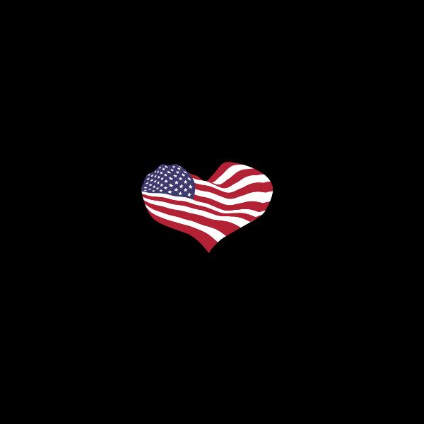 Heart Hands Silhouette America Flag