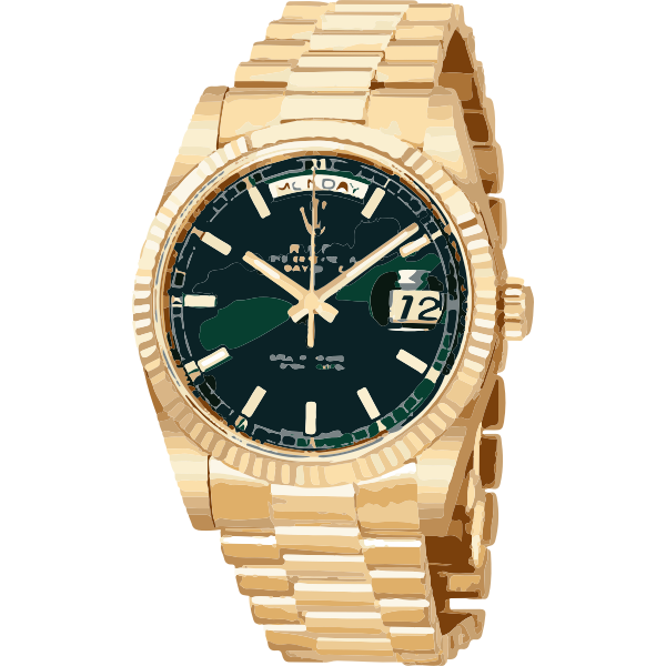 swiss watch in gold and green - horlogerie