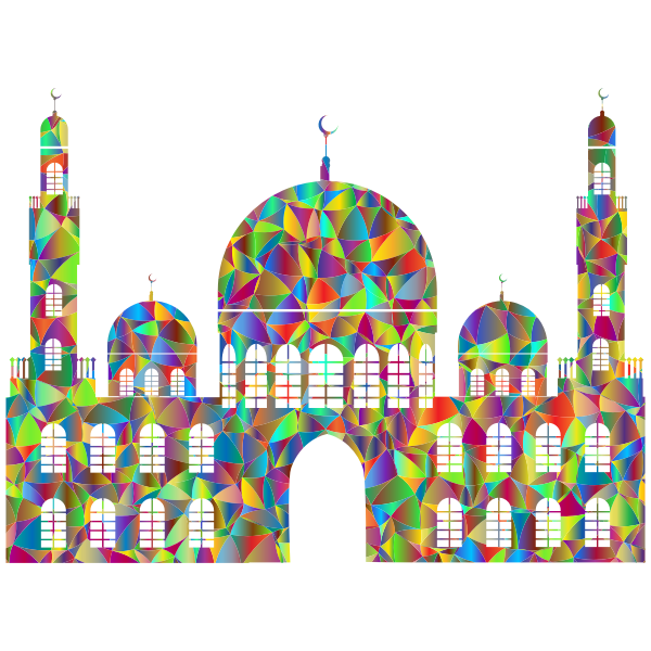 Generic Mosque Silhouette 2 Low Poly Polyprismatic
