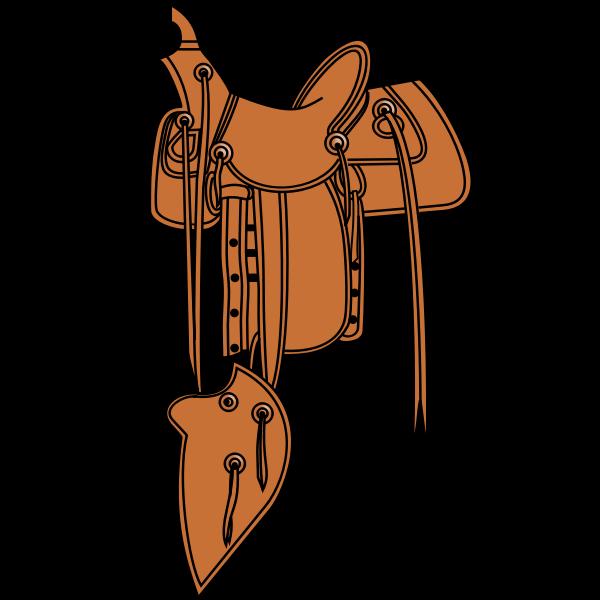 Cowboy saddle, colored