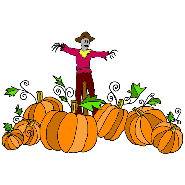 Scarecrow And Pumpkin Patch Free Svg