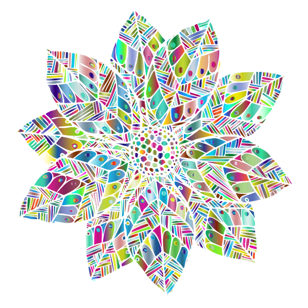 Hand Drawn Flower Line Art Polyprismatic