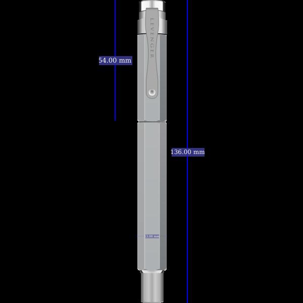 Levenger L-Tech 3.0 fountain pen chrome with dimensions