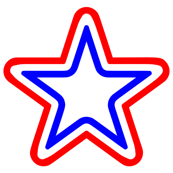 Red White Blue Star Rounded