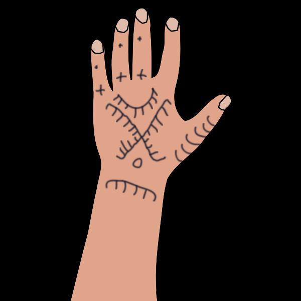 Kurdish woma's hand tattoo