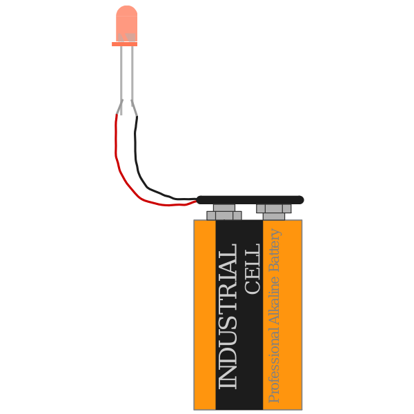 red led with 9 V battery