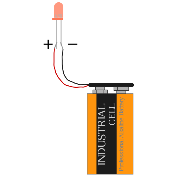 red led with 9 V battery and polarity