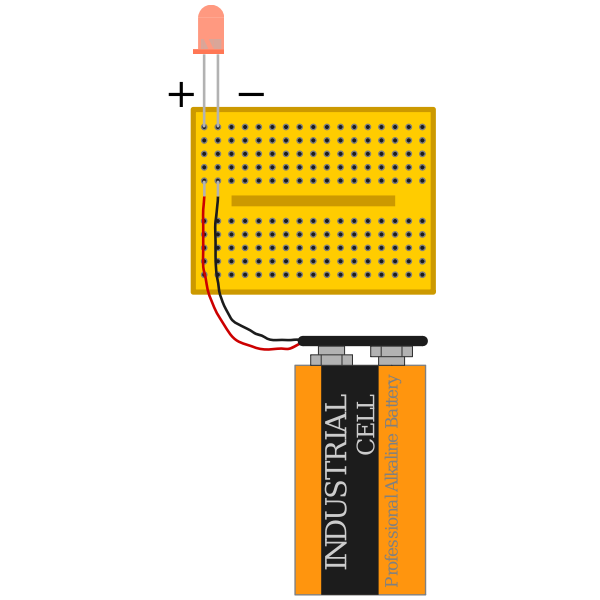 red led with 9 V battery connected via breadboard with polarity