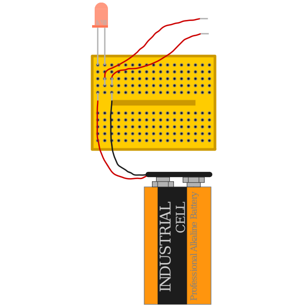 red led with 9 V battery connected via breadboard with open terminals