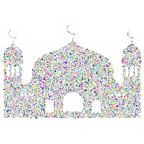 Simple Mosque Silhouette Circles