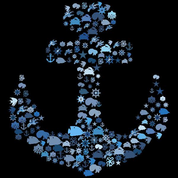 Nautical Anchor Design Aqua