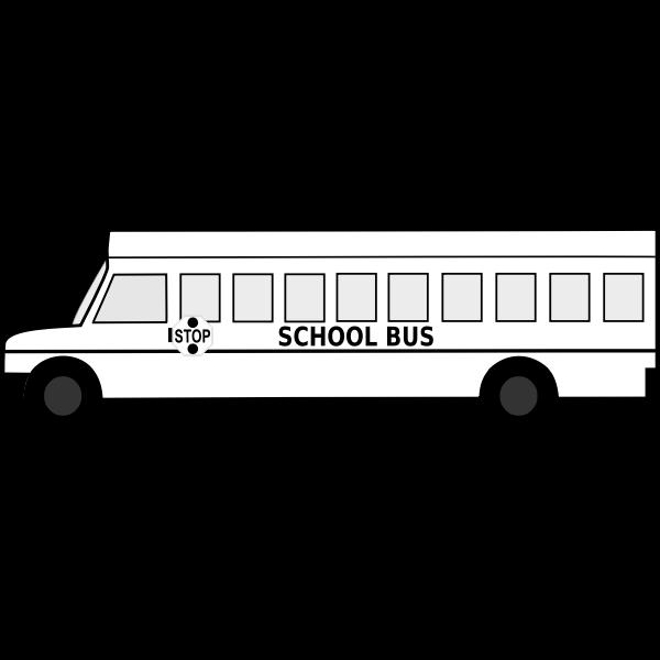 Big School Bus Black and White Free Clipart Icon