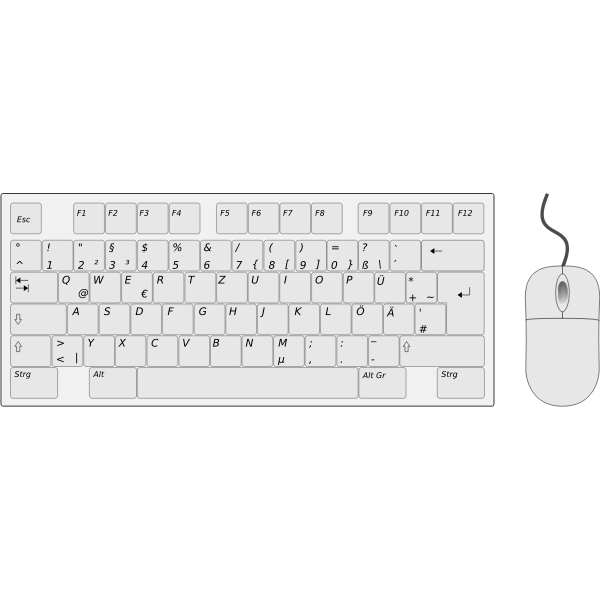 German Keyboard Left Side with Mouse