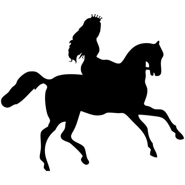 princess riding on horse silhouette