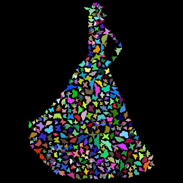 Woman Butterflies Dress Silhouette Prismatic