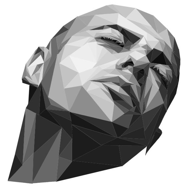 Grayscale Low Poly Man By GimpWorkshop