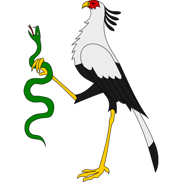 Secretary bird holding a snake