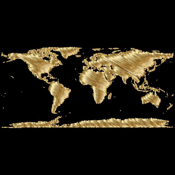 World Map Sketch Gold
