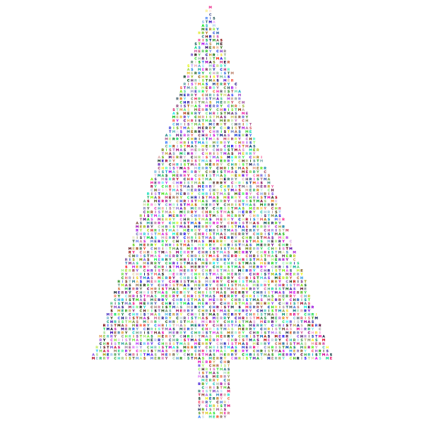 Christmas Tree Typography Prismatic