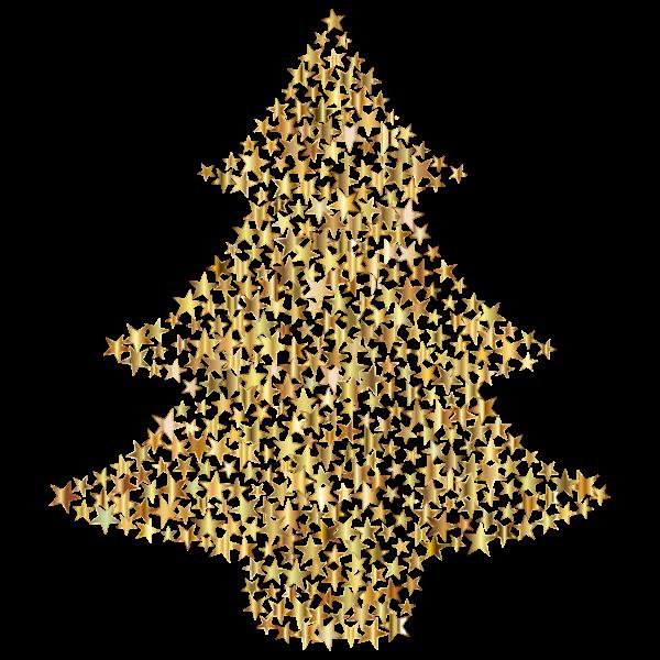 Christmas Tree Stars Gold No BG