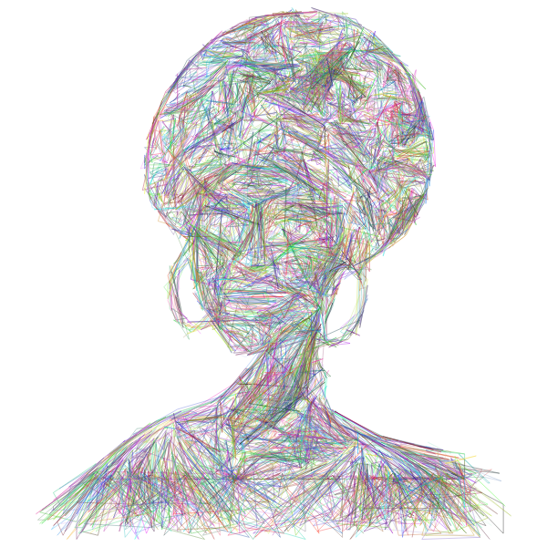 African Woman Illustration Geometric Wireframe Prismatic