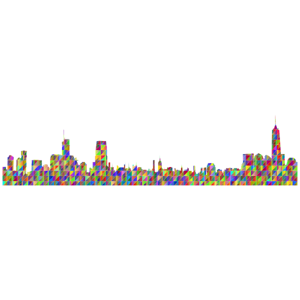 New York City Cityscape Skyline Panorama Silhouette Polyprismatic Triangles