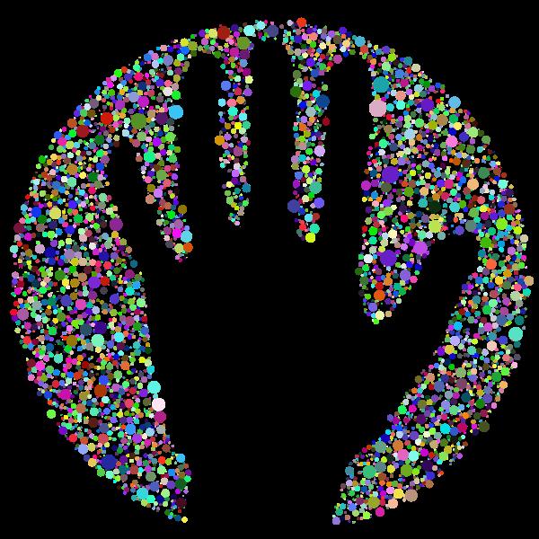 Negative Space Handprint Circles Prismatic
