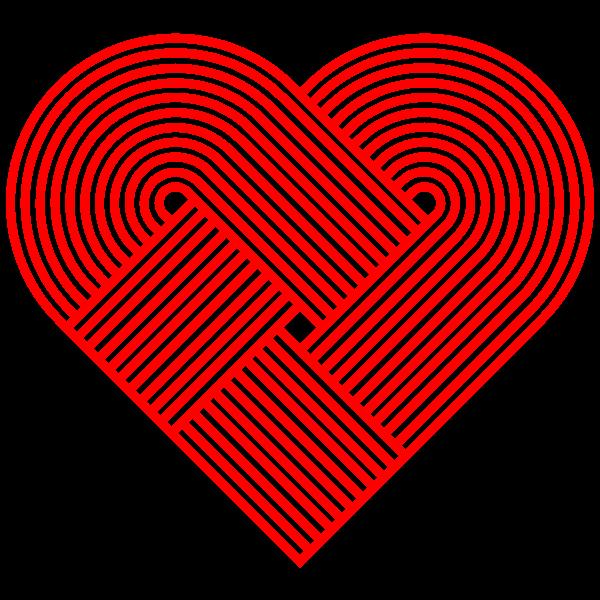 Interleaved Heart Design Red