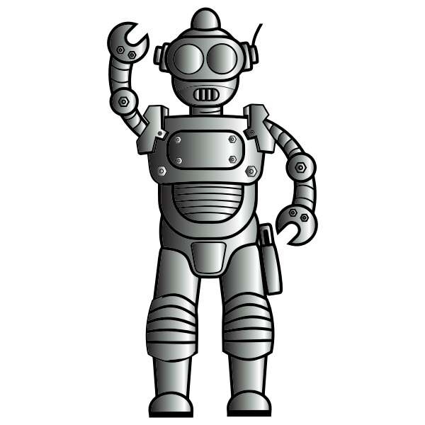 Retro metallic robot line art