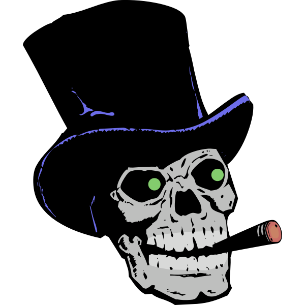 skull with top hat and cigar