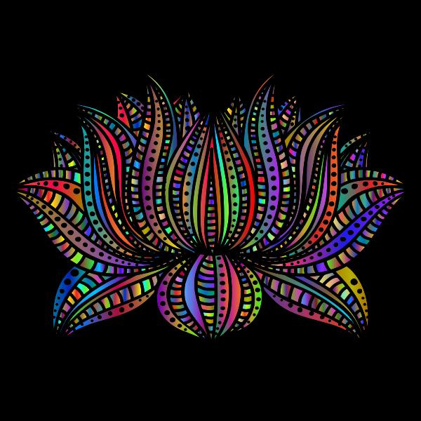 Decorative Lotus Line Art By AngelaRoseMS2 Polyprismatic