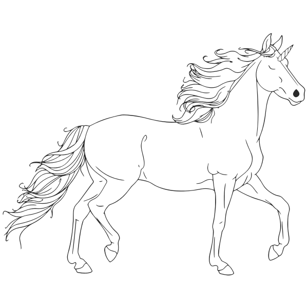 Unicorn Line Art Free Svg