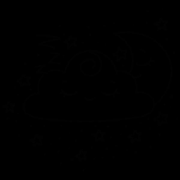 Kawaii Crescent Moon And Cloud Line Art
